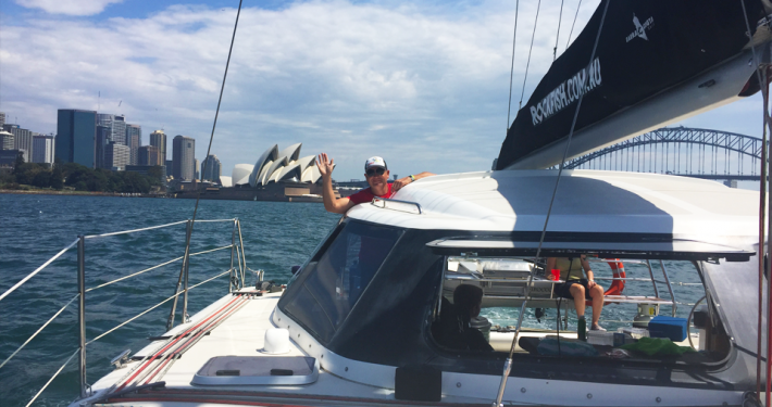 Crew on Rockfish cruising Sydney Harbour