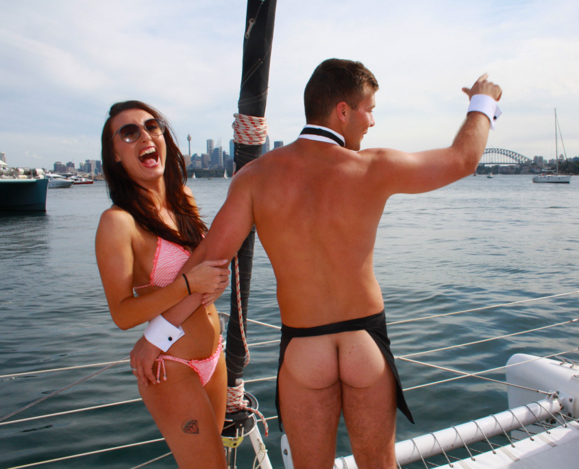Sydney Harbour Hens Cruise with cheeky waiter