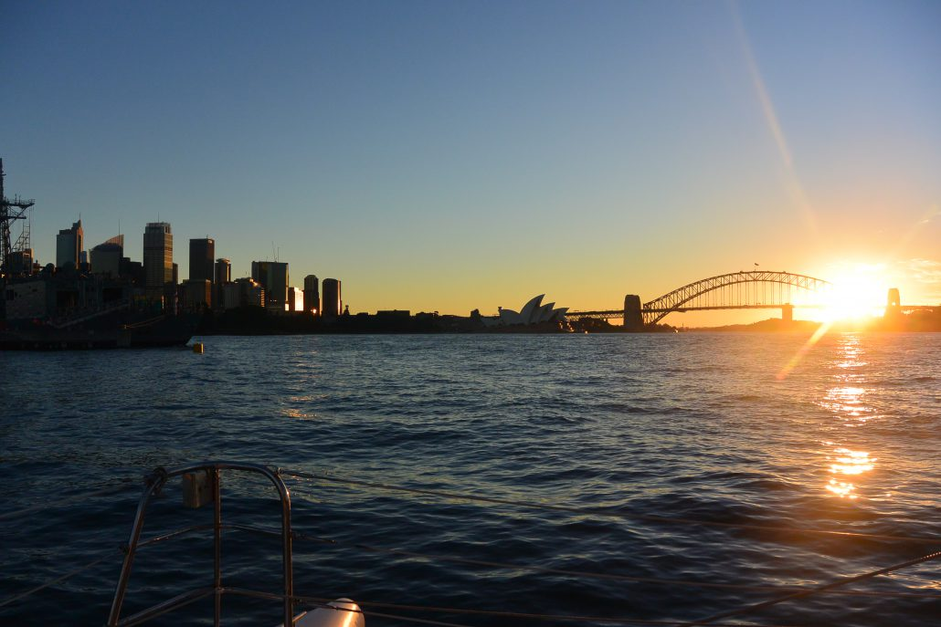 Cruise Sydney Harbour at sunset on Rockfish Catamaran